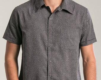 5e3bfc8e7a2ce Maze Pattern Shirt For Men Button Up Shirt Button Down Cotton Short Sleeved  Mens Shirts Psychedelic Fashion