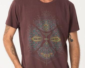 2804c4c725b4 Mens Psychedelic T-shirt, Brown Shirt, Psy Trance, Burning Man, Festival  Clothing, Dmt, Trippy Shirt