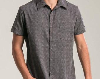 aef32025886b5 Mens Short Sleeve Button Up Shirt In Dark Grey Arabesque Full Printed Shirt  Button Down Shirt Psychedelic Fashion