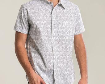 Mens Fashion Shirt White Button Down Shirt Short Sleeve Shirt Button Up Shirt Arabesque Printed Shirt Slim Fit Shirt