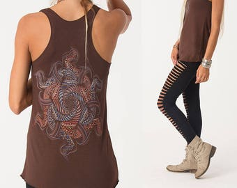 Womens Tank Top, Mandala Top, Festival Clothing, Yoga Tops Women, Yoga Wear, Psychedelic Clothing, Brown, Beige, Mustard