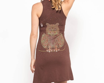 Brown Owl Dress, Festival Dress, Yoga Dress, Cotton Dress, Tank Dress, Psy Trance Clothing, Psychedelic Dress, Psy Dress, Owl Gift For Women