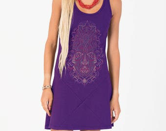 Women Psychedelic Dress, Tank Dress, Burning Man, Yoga Wear, Trance Clothing, Festival Dress, Purple, Blue, Green