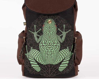 Psychedelic Frog Backpack- Laptop Bag, Dj Gift, Canvas Backpack, Mens Backpack, Womens Backpack, College Backpack, Frog Gifts