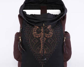 Backpack Screen Printed Burning Man Festival Rave Psychedelic Psy Trance Goa Uv Glow Trippy Backpack Laptop Backpack
