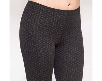 Black Flower Of Life Leggings- Sacred Geometry, Womens Leggings, Festival Yoga Pants, Printed Leggings, Psy Trance, Pixie, Festival Leggings