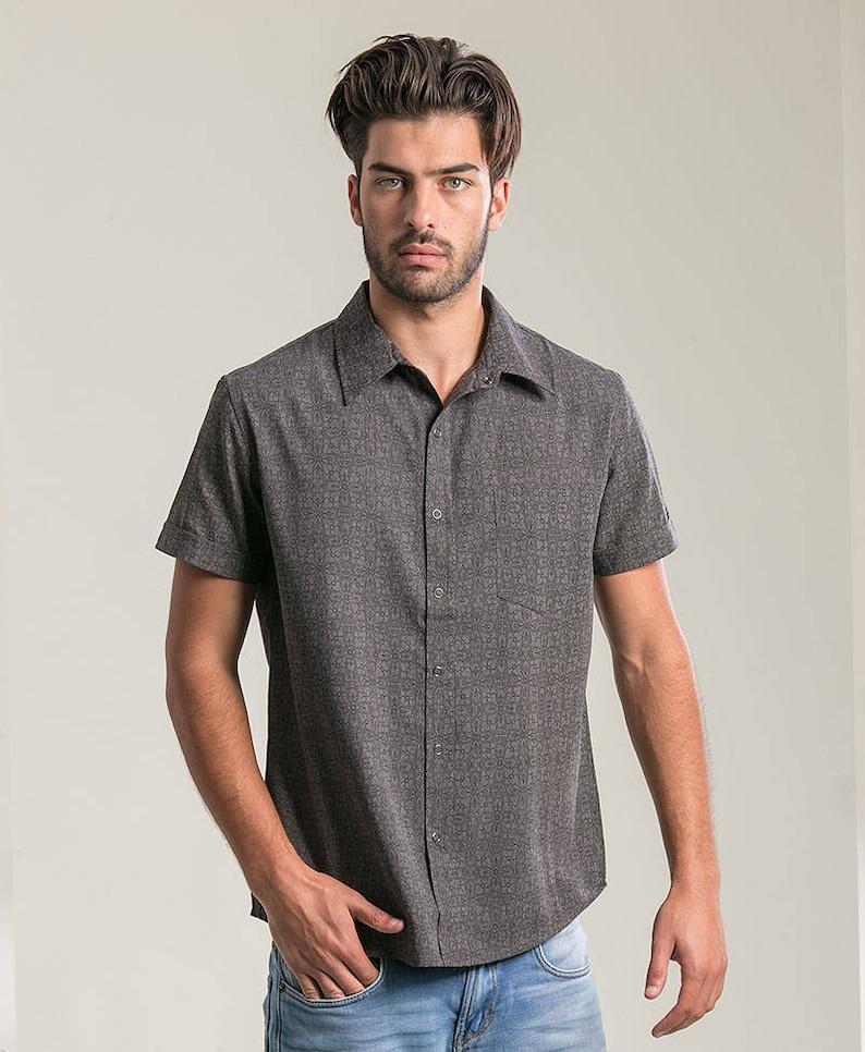 2b564243042e9 Mens Short Sleeve Button Up Shirt In Dark Grey Arabesque Full
