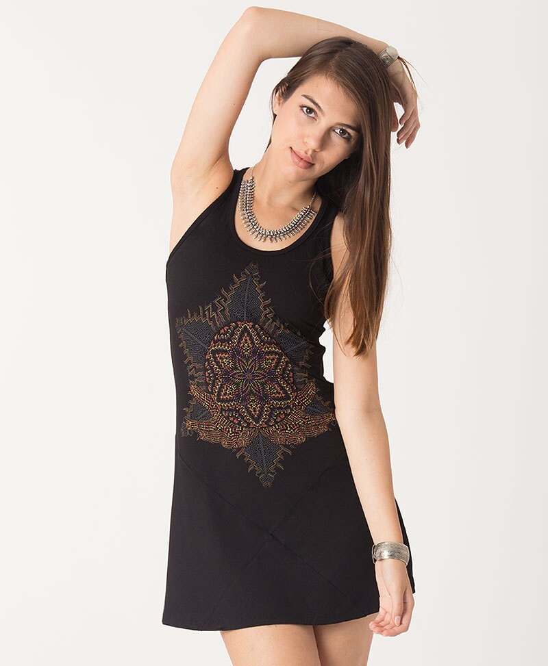 Festival Tank Dress Black Tunic Top Yoga Tunic Mandala