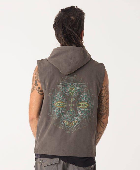 Mens Vest With Hoodie Psychedelic Hooded Vest Jacket Hood Etsy