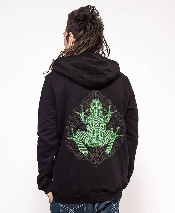 Veste à capuche noire psychédélique Hoodies pour les hommes de l'écran imprimé à capuche Zip Up Hoodie Mens vêtements Festival Burning Man Psytrance