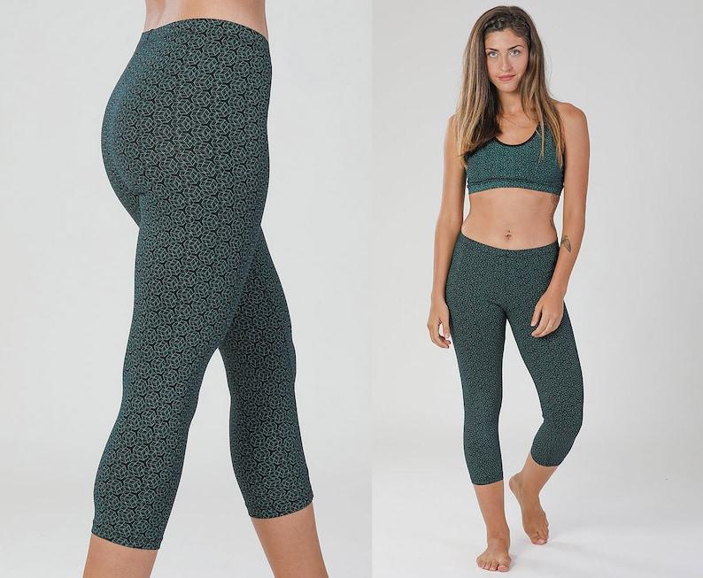 76367af0a1 GEOMETRIC Leggings Teal Cotton Leggings Yoga Pants Womens | Etsy