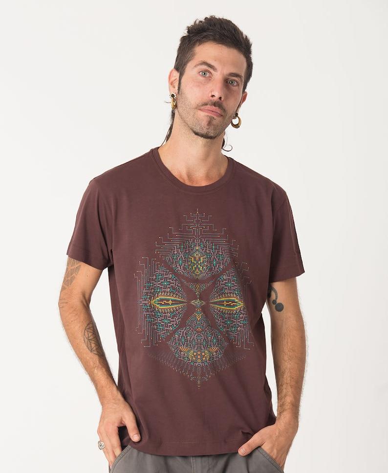 a6b9ccbb3025 Mens Psychedelic T-shirt Brown Shirt Psy Trance Burning | Etsy
