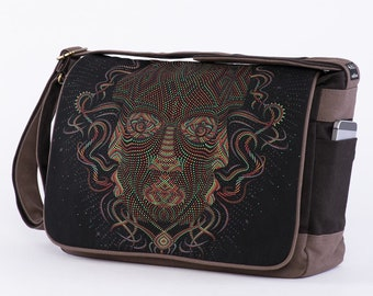 Laptop Messenger Bag, Psychedelic Art, Screen Printed, Messenger Bag, Laptop Bag, Over Shoulder Bag, Canvas Messenger Bag