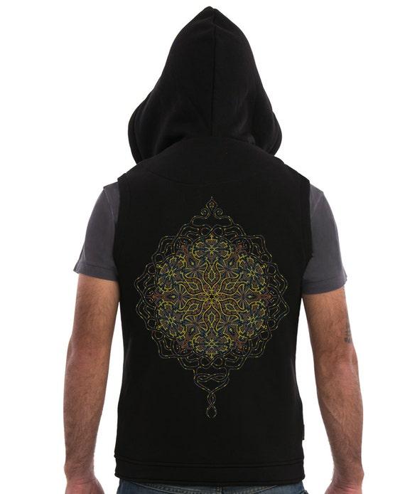 Mens Kapuze Weste schwarze ärmellose Jacke Hoodie Mandala | Etsy