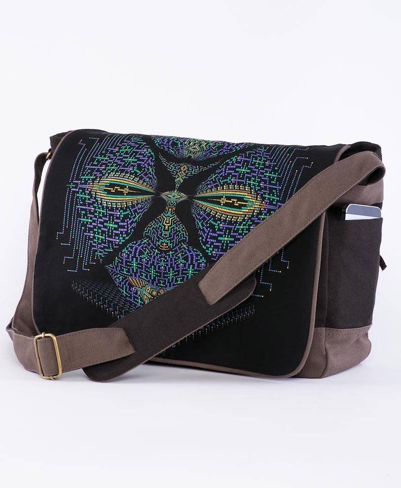 678a506dfe96 Psychedelic Messenger Laptop Bag, Screen Printed, Canvas Messenger Bag,  Laptop Bag 13 inch 15 inch, Computer Bag, Shoulder Bag