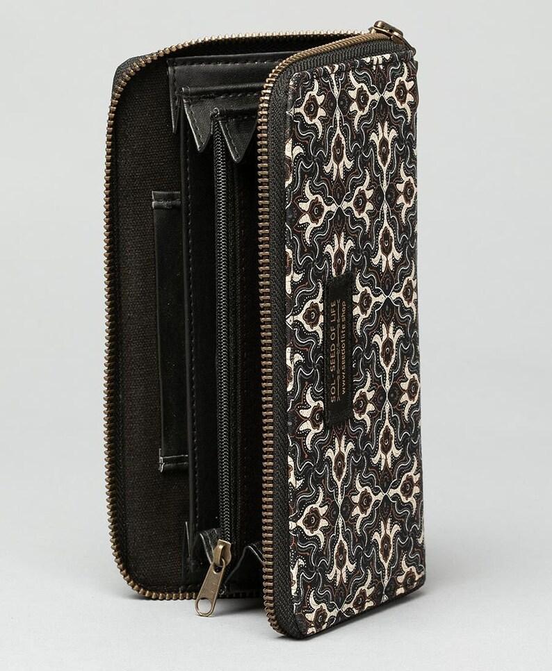 Large Canvas Wallet Zipper Wallet Vegan Womens Wallet Gift For Girlfriend Hamsa Tribal Print Long Wallet For Women Gift For Her