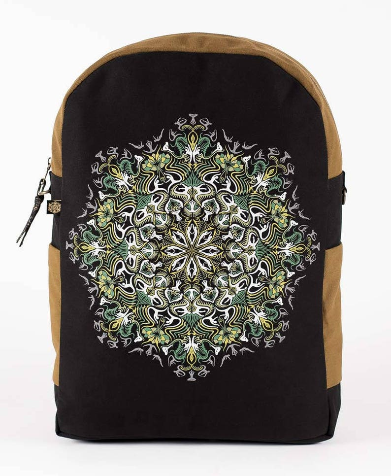 Festival Backpack Canvas Laptop Backpack With Yoga Mandala Print Square Backpack Fitting 13  15  17 inch Laptops