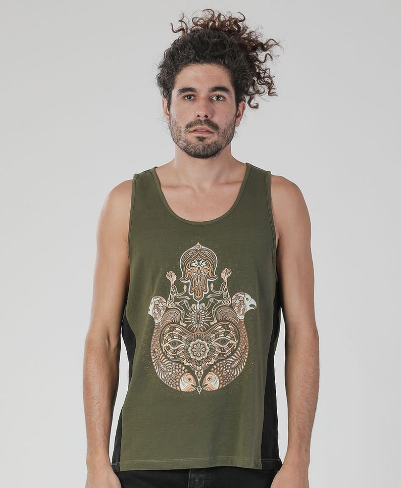 70dbc378dc759 HAMSA Mens Tank Top Sacred Geometry Men Yoga Gift Burning
