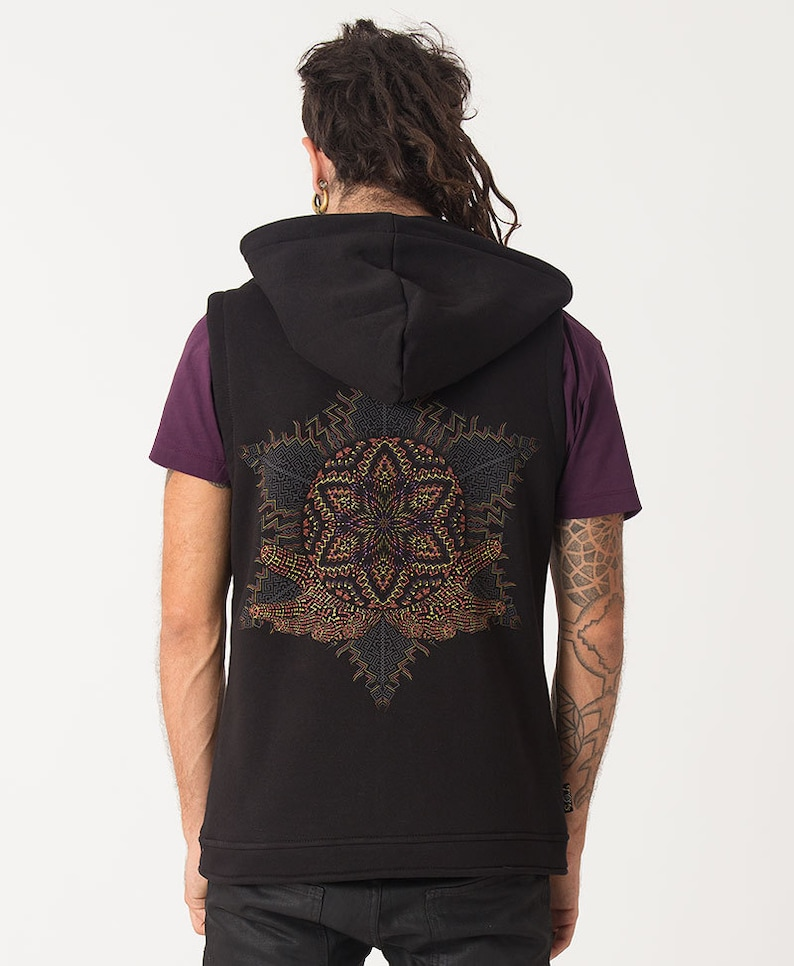 Black Hood Vest Zip up Jacket Sleeveless Hoodie With Sacred Anahata- Black