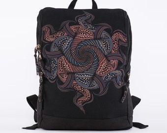 Tribal Backpack, Laptop Backpack, Canvas Backpack, Mens Backpack, Womens Backpack, Mandala Backpack, Psychedelic Festival Backpack