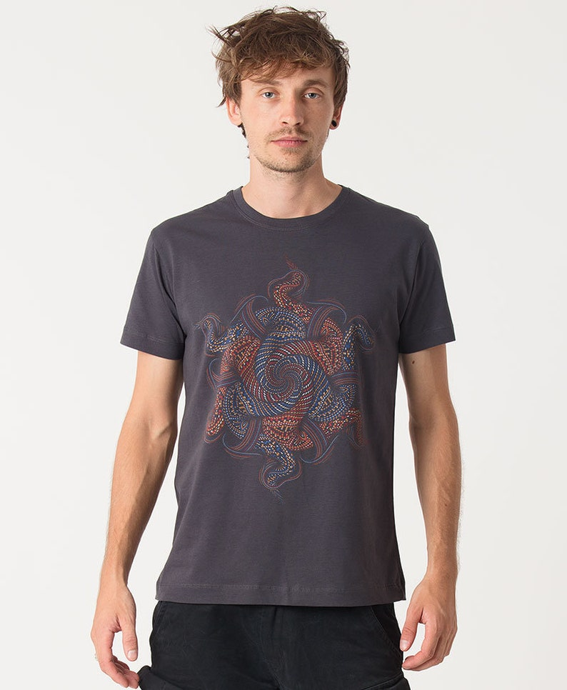 c83452307afb NEW Mens Black T-shirt Psychedelic Mandala Printed Shirt Dmt | Etsy