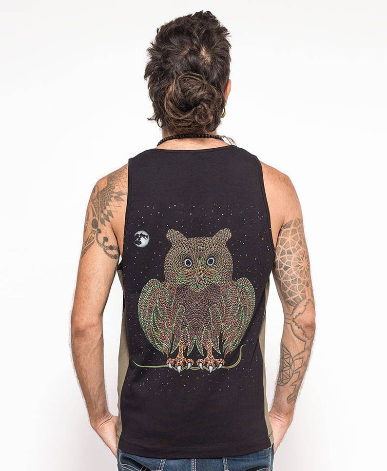 720a7d618e9346 Mens Festival Tank Top Owl Printed Tank Top In Green And
