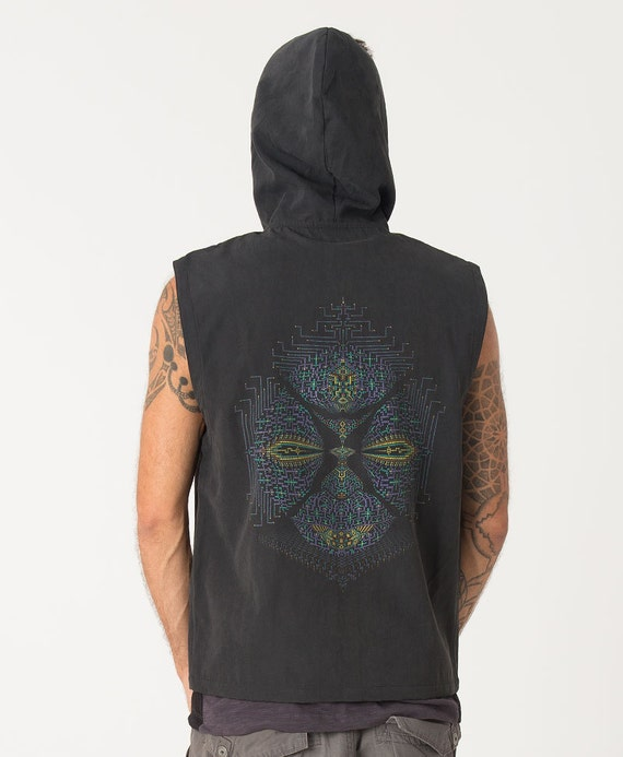 Psychedelic Mens Vest Black Hooded Hoodie Vest, Ayahuasca, Dmt, Trippy, Screen Print, Burning Man, Festival Clothing, Psy trance