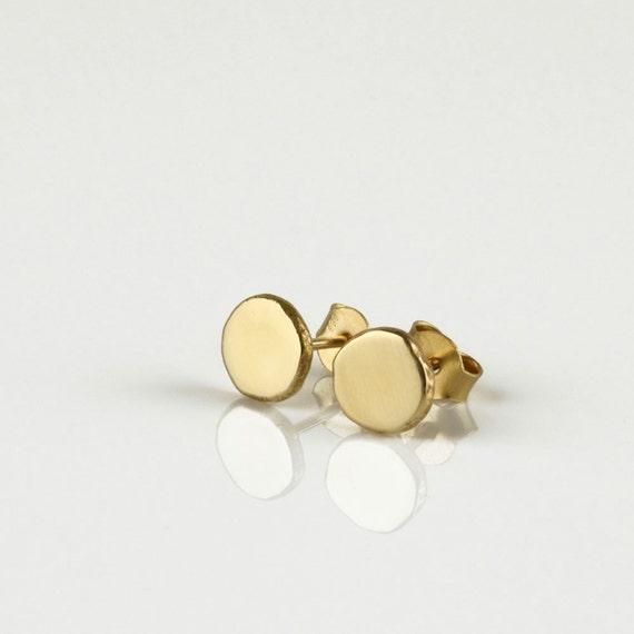14 k Ohrstecker, gold minimalistische Ohrringe, gold Ohrstecker, Runde gold Ohrringe, einfache Ohrstecker