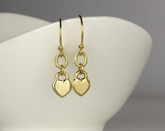 14k Gold earrings, dangle gold heart earrings, dangle earrings 14k gold, solid gold earrings