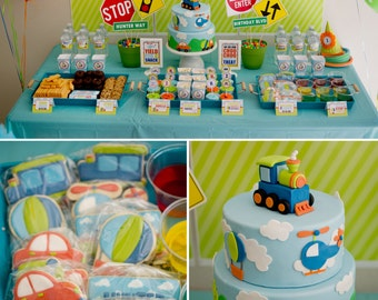 DIY Printable Collection TRANSPORTATION PARTY / truck party/ car party/ helicopter party