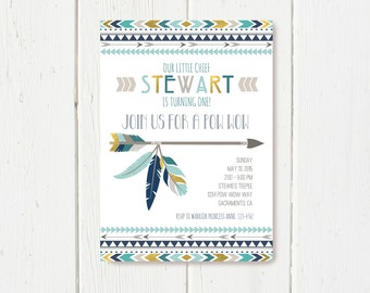 Tribal Birthday Invitation Blue Grey Gold Color Scheme