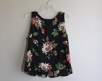 black and floral sleeveless top-
