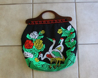 Beaded Tote Bag 70s Fabric Handbag CRANES Roses Large Square Kitsch Birds 1970s Boho
