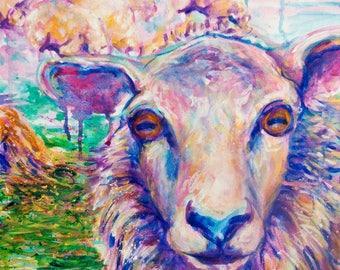 "Purple Sheep - 12x12"" print"