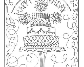 Alles Gute zum Geburtstag Kuchen Färbung Seite
