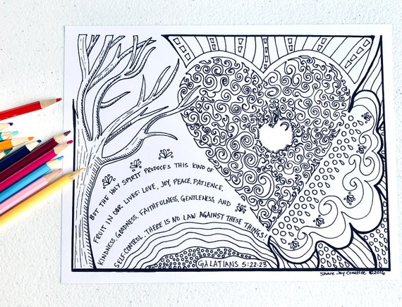 - The Fruit Of The Holy Spirit Coloring Page Printable Etsy