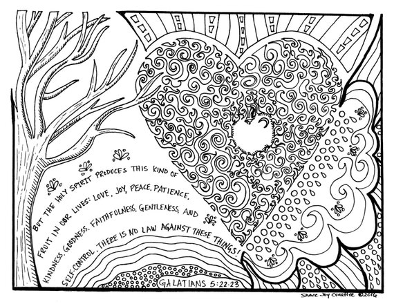 The Fruit Of The Holy Spirit Coloring Page Printable Etsy