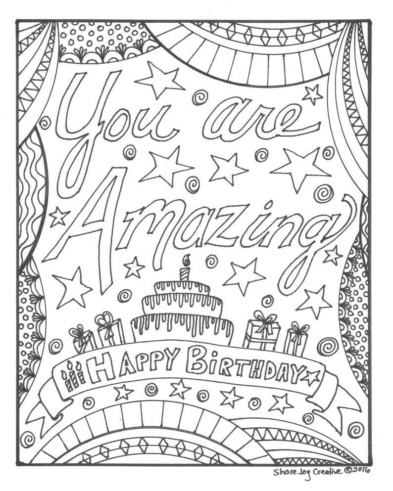 Kleurplaten Verjaardag Me To You.Gelukkige Verjaardag Kleurplaat Je Bent Amazing Etsy