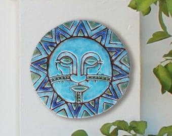 sun and moon ceramic wall art, garden decor with sun and moon design, outdoor wall art, decorative tile - 30cm - sun and moon art #5