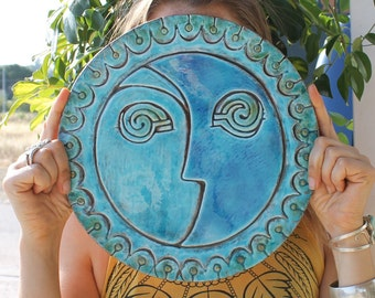 sun and moon wall sculpture, ceramic tile with sun and moon design, outdoor wall art, bathroom wall decor, decorative tile #3 XL 30cm