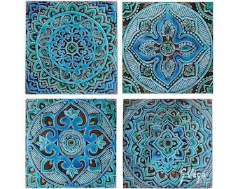 Ceramic Tiles With Mandala Tiles, Decorative Tiles, Wall Tiles, Bathroom  Tiles, Ceramic Wall Art, Set Of 4 Ceramic Tiles, Turquoise 30cm