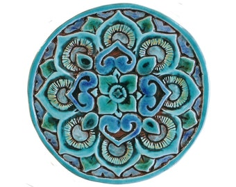 Mandala Wall Decoration Made From Ceramic   Outdoor Wall Art   Ceramic Tile    Mandala 21cm   Turquoise