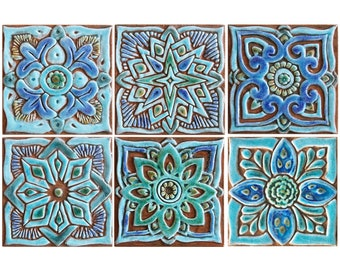 Decorative tile set, hand paint tile, Decorative tile, ceramic tiles, set of 6 tiles, 15cm, square, Turquoise