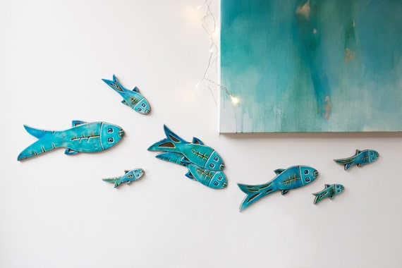 Set of 10 ceramic fish // Fish wall art // Fish wall hangings | Etsy