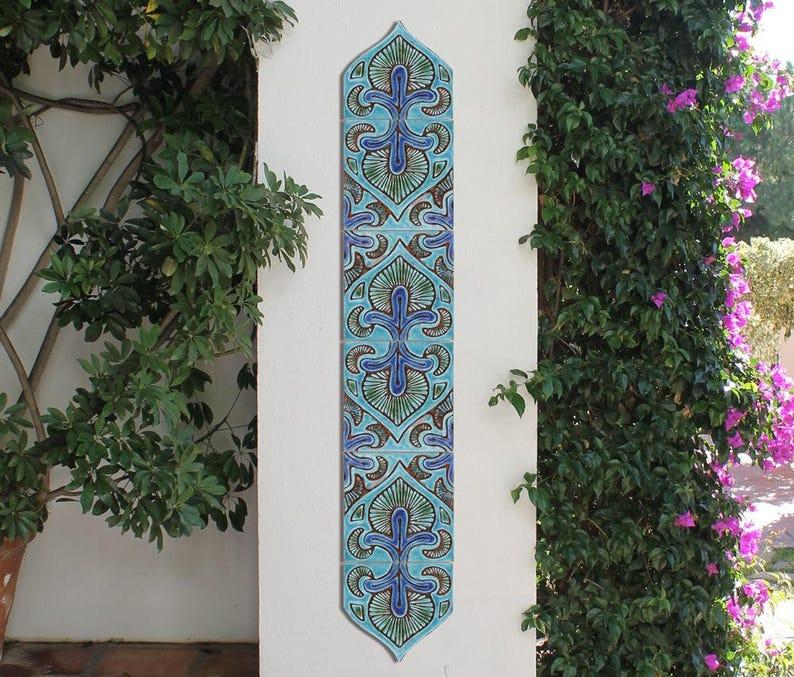 Outdoor Wall Art Set Of 6 Ceramic Tiles To Decorate A Column Garden Art Garden Decor With Boho Design Decorative Tile Suzani Deco