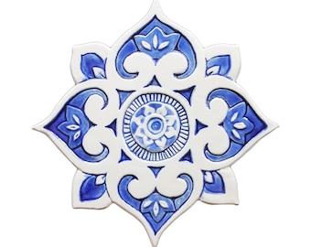 Mandala-Wanddekor, hergestellt aus Keramik, Outdoor-Wand-Kunst, Keramik Wandkunst, keramische Fliesen, Mandala 3 Ausschnitt, blau