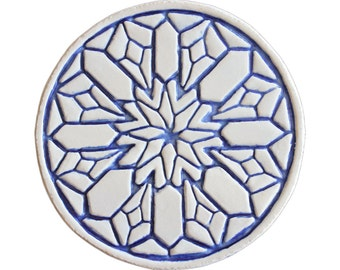 Moroccan ceramic tile, Decorative tile with moroccan design, Moroccan tile, circle wall art,Outdoor wall art circles,15cm,#2, blue and white