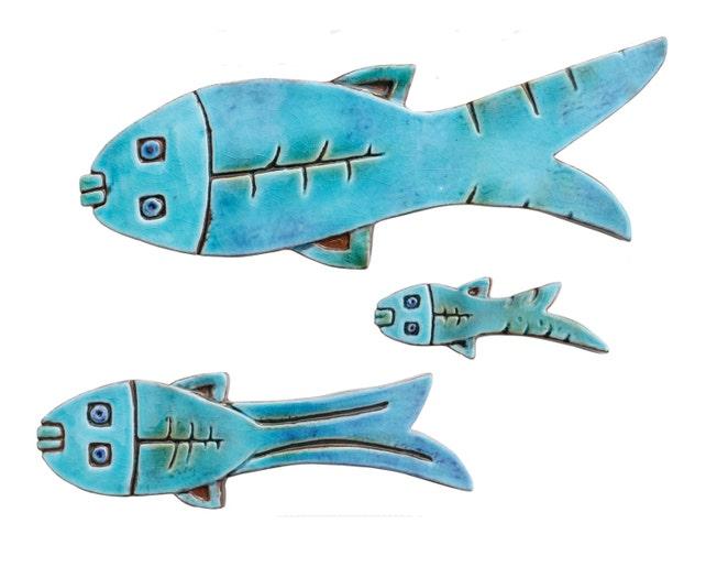 Set of 3 ceramic fish // Fish wall art // Fish wall hangings | Etsy