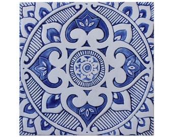 Outdoor-Wand-Kunst mit Boho Design, blau und weiß Gartendekor, keramische Fliesen, Gartenkunst, keramischen Wandfliesen Art, Mandala #3, 30cm - blau