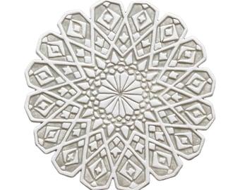 Outdoor-Wandkunst mit marokkanischen Design, Garten-Dekor, Fliesen, Garten, Kunst, Kreis Kunst, marokkanische Ausschnitt #4, 28cm, Beige